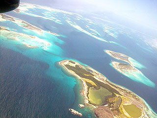 Aerial view of Los Roques Archipelago in the Caribbean